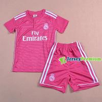 Kids REAL MADRID Home White Away Pink Soccer Children Boys Girls 2014/15 Top Quality Football Jerseys Kits Uniforms BALE RONALDO