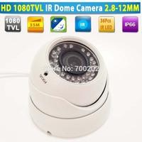Free Shipping Video Surveillance Security Metal IR Dome CCTV Camera Waterproof with Varifocal 2.8-12MM Lens + OSD MENU