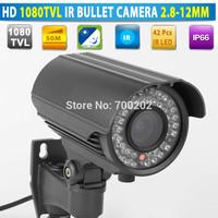 Free Shipping Varifocal Waterproof Surveillance Security CCTV IR Night Vision Bullet Camera Vandalproof 2.8-12MM Lens + OSD MENU
