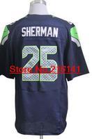 Elite Stitched American Football Jerseys Seattle Football #25 Richard Sherman Jerseys, Size 40-60, Accept Dropping Shipping.