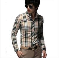2014 Spring Korea Style Plaid Shirt Long Sleeve men Shirts Long Sleeve Brand Luxury
