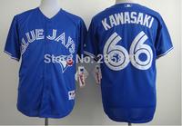 Toronto blue jays baseball jersey Official style 66 Munenori Kawasaki cool base blue color MLB shirts