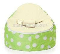 Free shipping ceam seat green pop polka baby beanbag chair, kid toddler bean bag sofa seat, baby feeding chair