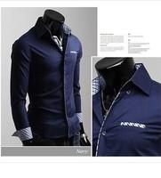 big sale  2014 Mens Slim fit Unique neckline stylish Dress long Sleeve Shirts Mens dress shirts 6 colors size: M-XXL