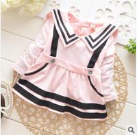 Korean long-sleeved navy collar cotton dress baby girl 2014 new children's pink dress girls skirt infant wear kids wear