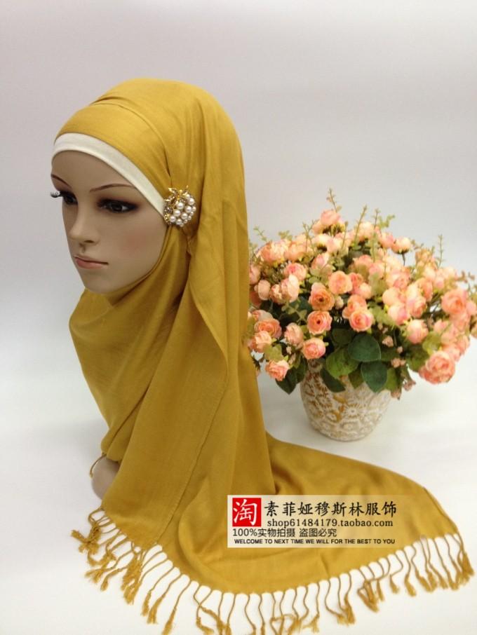 hijab muçulmano bandanas rayon fiado cor sólida clássico da moda(China (Mainland))