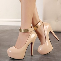female party black nude shoes woman 2014 ladies ankle strap platform pumps sexy thin high heels fashion patent leather C201