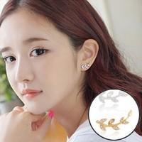 Hot Sale Full Rhinestone Stud Earrings Korea Style Sweet Cute Lovely Leaf Rhinestone Crystal Stud Earrings Girls Gifts Wholesale