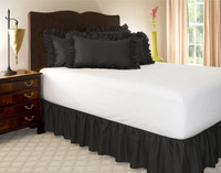"""Free Shipping!! Hot Sale Black Wrap Around Elastic Ruffles Style Bed Skirt for King/Queen Size Bed With 14"""" Drop"""