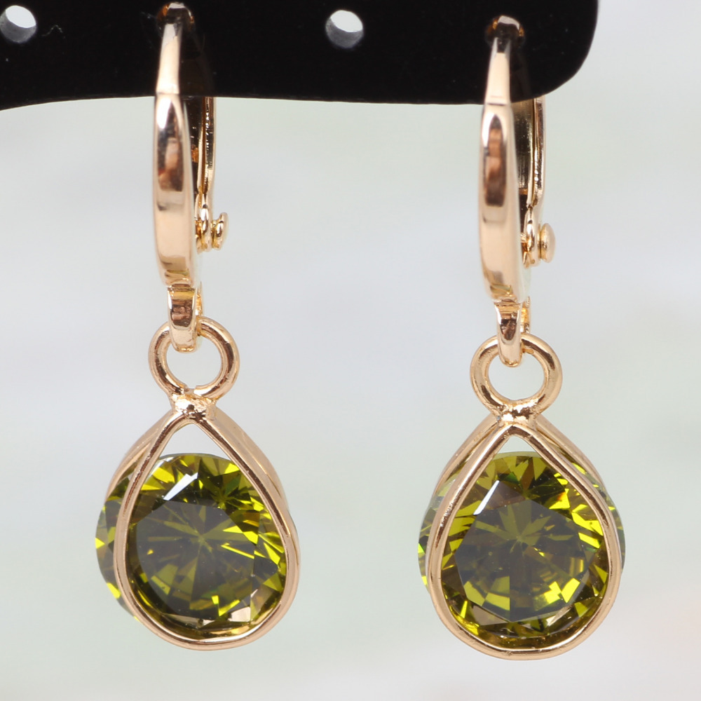 Unique Design Cheap and cheerful ! 18K Yellow gold plated green Simpleness Earrings Fashion Jewelry E148(China (Mainland))
