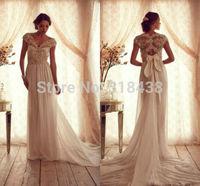 Free shipping VC-978 Elegant  Chiffon Appliquess Bow Wedding Dress Custom-made White/Ivory