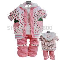 new 2014 girls spring-autumn cartoon fruit strawberry clothing sets 3pcs toddle dot clothes set infant costume retail wholesale