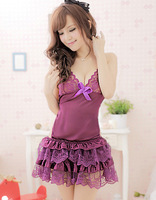 Women's lace purple sexy lingerie Chemises nightdress uniform sleepwear Halter neck G-string skirts nightwear thong nightgown