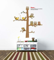 New 2014 cartoon wall sticker decals home decor cute owls and tree for kids rooms home decorations