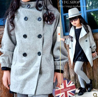 promtion 2014 autumn and winter hot sales girls thicken woolen coat children winter outerwear