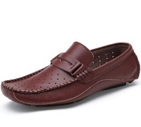 Summer Fashion Brown Black Mens Shoes Breathable Hole Genuine Leather Loafers Driving Moccasins Slip On Flats