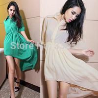 Casual Dress  2014 Summer New Women'S Dress Solid Temperament Lapel Small Backless Chiffon Swallowtail Dress Wholesale