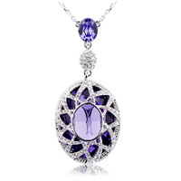 New Fashion Austrian Blue Crystal Pendant Necklace 18KGP White Gold Plated Women's Charm Jewelry Free Shipping (CN030)