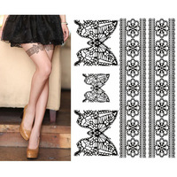 5pcs 2014 new free shipping Bow leg tattoo sticker tattoo sticker sexy lace stockings Body Art Temporary Tattoos women fashion