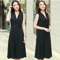 The new summer Korean dress long silk milk women wear sleeveless V collar slim size dress Beach