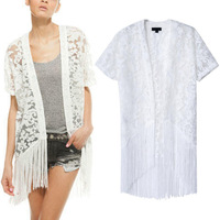 2014 Newest Lady Short Sleeve Organza Embroidery Lace Tassels Kimono Tops No Button Blouses Blouse White S M L
