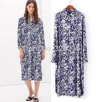 Free shipping !  2014 Girls Shirt Style Fashion Blue Print  Pattern Mid-long Dress ladies fashion dress evening dress