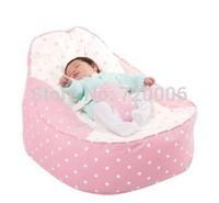 Free shipping pink dots polka design baby snoring and sleeping beanbag, tight sleep newborn kids bean bag chair, baby sofa