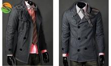 Korean Men's Double Breasted Pea Strap Trench Coat Jacket Overcoat Topcoat Tops