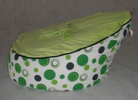 Free shipping HOTSELL green polka with lime green top baby beanbag seat, baby chair, snuggle pod baby seats