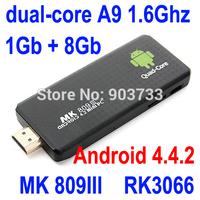 Android 4.4.2  mini PC Dual core RK3066 Google TV Box MK809III 1GB RAM 8GB ROM Bluetooth Wifi  HDMI MK809 II free shipping