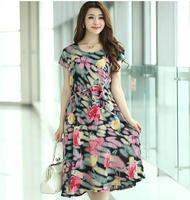 Summer new fashion long bourette silk dress size slim short sleeved T-shirt floral