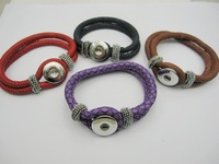 FREE SHIPPING MIXED PU LEATHER BRACELETS FIT SNAPS  BUTTONS 4PCS/LOT