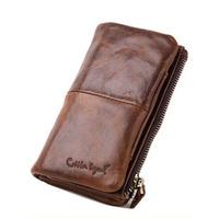 2014 New Genuine Leather Brand Clutch Bag Wallet For Men Long Design Money Bag Zipper Bag Coin Purse Handbag