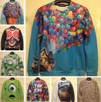 2014 new 3d sweatshirts women high quality balloon/kaleidoscope printed hoodie fashion thin 3d men/women's hoodies free shipping