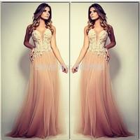 Sexy Sheer Deep V Neck Champagne Tulle A Line Long Prom Evening Dresses 2014 Vestidos De Fiesta