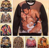 New 2014 Autumn Women/Men's Sportswear High Print Hoodies Pullovers Animal 3D Sport Sweatshirt Sexy Sweaters Tops