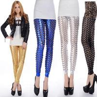 hollow out metallic legging women Punk Rock Metal shiny Scales Hole Fitness Fashion Leggings For Women free shipping