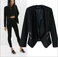 Fashion Jacket Blazer Women Suit Foldable Long Sleeves black  Coat Lined With Striped zipper