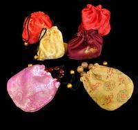 Free Shipping 100pcs/lot 10.5x10.5cm Random Colors Satin Embroidery Drawstring Bag Jewelry Bag Gift Bag Prayer Beads Pouches