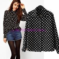 2014 New Women Black dots shirts Ladies fashion long sleeve white dot chiffon blouses plus size free shipping 68624