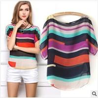 Fashion Women Striped chiffon blouse Multi-colour print shirts Loose Short Sleeve casual blusas femininas plus tops S-XXXL