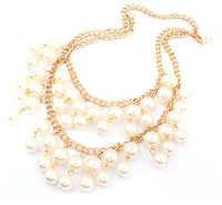 Bohemian Waterdrop Pearl linked strip gold choker statement necklace pendant & necklace lady women jewelry JZ164
