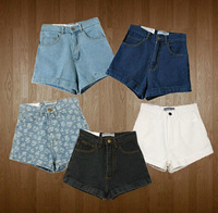 Fashion 5 Colors American Women Apparel AA Vintage High Waist Denim Shorts Summer High Quality 100% Cotton Short Jeans Plus Size