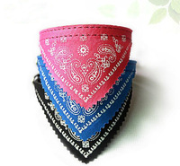 20pcs/lot PU Leather Pet Dog Cat Collar with Flower Bib in 4 Size for Choise