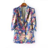 New 2014 jackets women Sexy Fit Floral Prints Blazer Jacket Flowers Chic Long Sleeve Slim Jacket Suit Plus size#55