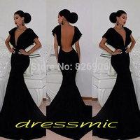 Black Sexy Long Prom Dresses Deep V Neck Cap Sleeve Open Back Mermaid Evening Dress Graduation Gown QB-54