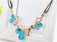 2014 Romantic Opal necklace Women Fashion Dress Necklace four leaf Pendant Classic Love Pink Blue