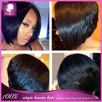African American short Bob Wig Straight Brazilian Virgin Human Hair Full Lace Wig with bangs bob wigs Baby Hair