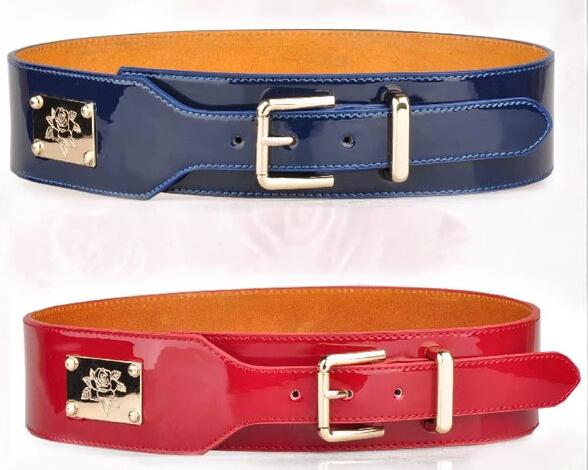 Free Shipping 2014 fashion women's belt Patent leather buckle leathe wide belt lady girdle B1407063(China (Mainland))
