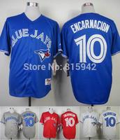 Toronto Blue Jays #10 Edwin Encarnacion Blue Red White Stitched Baseball Jerseys Cheap
